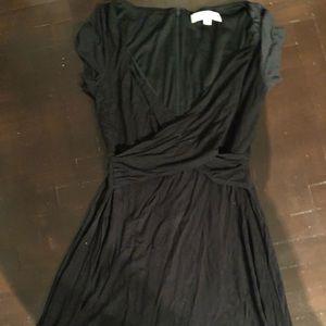 LOFT short sleeve wrap dress black size 00